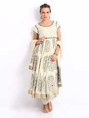 BIBA by Rohit Bal Women Off White Printed Churidar Kurta with Dupatta