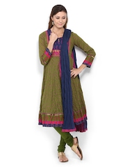 BIBA Women Green Printed Anarkali Churidar Kurta with Dupatta