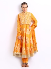 BIBA by Rohit Bal Women Mustard Yellow Chanderi Silk Churidar Kurta with Dupatta