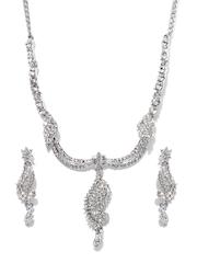 Bindhani Decent Silver-Toned Jewellery Set