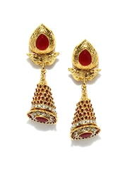 Bindhani Gold-Toned & Red Drop Earrings