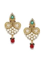 Bindhani Gold-Toned & White Drop Earrings