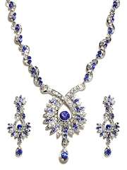 Bindhani Metalic Silver-Toned Jewellery Set