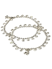 Bindhani Rhodium Plated Anklets