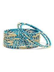 Bindhani Set of 12 Blue & Gold-Toned Bangles