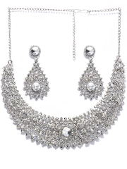 Peacock Silver-Toned Jewellery Set Bindhani