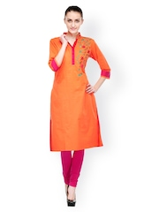 Bitterlime Women Orange Embroidered Kurta