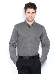 Black Coffee Men Black & White Slim Fit Smart-Casual Shirt