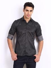 Black Coffee Men Black Club Fit Casual Shirt