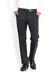 Black Coffee Men Black Regular Slim Fit Formal Trousers