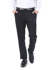 Black Coffee Men Black Sharp Slim Fit Formal Trousers
