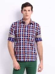 Black Coffee Men Blue & Orange Checked Club Fit Smart-Casual Shirt