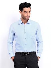 Black Coffee Men Blue & White Herringbone Slim Fit Formal Shirt