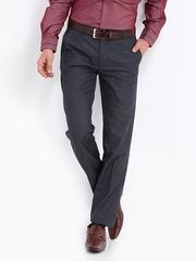 Black Coffee Men Bluish Grey Regular Slim Fit Formal Trousers