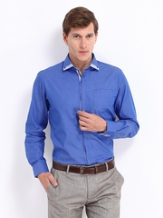 Black Coffee Men Blue Slim Fit Formal Shirt