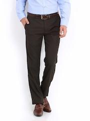 Black Coffee Men Brown Checked Regular Slim Fit Formal Trousers