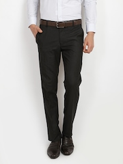 Black Coffee Men Charcoal Grey Regular Slim Fit Formal Trousers