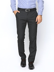 Black Coffee Men Charcoal Grey Sharp Fit Formal Trousers