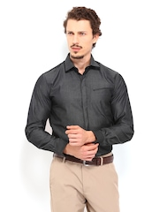 Black Coffee Men Charcoal Grey Slim Fit Formal Shirt