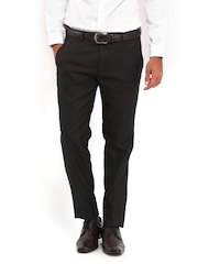 Black Coffee Men Dark Brown Sharp Fit Formal Trousers