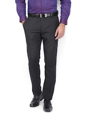 Black Coffee Men Black Self-Checked Sharp Fit Formal Trousers