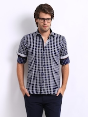Black Coffee Men Navy & White Checked Club Fit Smart-Casual Shirt