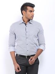 Black Coffee Men Navy & White Striped Slim Fit Formal Shirt