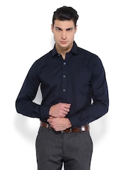 Black Coffee Men Navy Slim Fit Formal Shirt