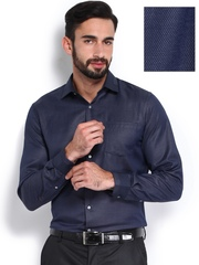 Black Coffee Men Navy Slim Fit Semiformal Shirt