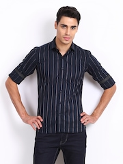Black Coffee Men Navy Striped Club Fit Casual Shirt