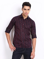 Black Coffee Men Purple & Red Striped Club Fit Casual Shirt