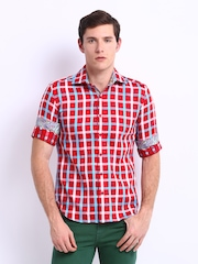 Black Coffee Men Red & Blue Checked Club Fit Shirt