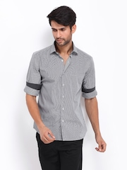 Black Coffee Men Black & White Checked Slim Fit Smart-Casual Shirt