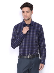 Black Coffee Men Navy & Grey Checked Slim Fit Formal Shirt
