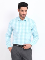 Black Coffee Men Blue & White Checked Slim Fit Formal Shirt