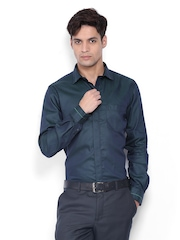 Black Coffee Men Olive Green Slim Fit Semi-Formal Shirt