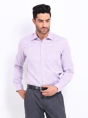 Black Coffee Men Pink & White Striped Slim Fit Formal Shirt