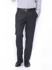 Black Coffee Men Dark Grey Sharp Slim Fit Formal Trousers