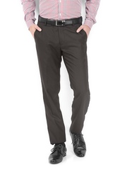 Black Coffee Men Brown Regular Slim Fit Formal Trousers