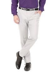 Black Coffee Men Light Grey Sharp Slim Fit Formal Trousers