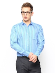 Blackberrys Men Blue Striped Slim Fit Formal Shirt