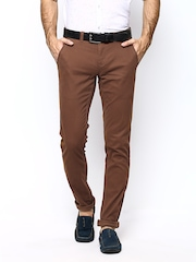 Blackberrys Men Rust Brown Sharp Fit Casual Trousers