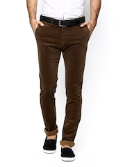 Blackberrys Men Brown Sharp Fit Corduroy Trousers