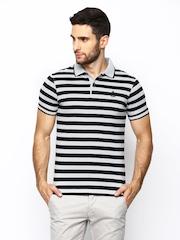 Blackberrys Men Grey & Black Striped Polo T-Shirt