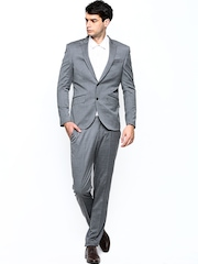 Blackberrys Men Grey Wool Blend Single-Breasted Slim Fit Suit