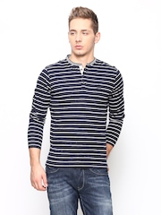Men Navy & White Striped Henley T-shirt Blackberrys