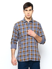 Blackberrys Men Blue & Brown Checked Slim Fit Casual Shirt