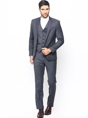Blackberrys Men Grey Striped Woollen Formal Suit with Waistcoat