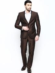 Blackberrys Men Brown Linen Blend Single-Breasted Semiformal Suit