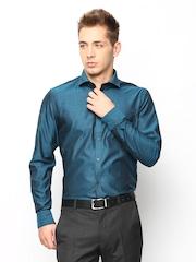 Blackberrys Men Teal Blue Slim Fit Semi Formal Shirt